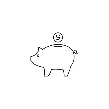 Piggy bank line icon,  linear pictogram isolated on white