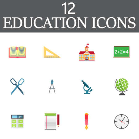 Education vector icons set, colorful solid symbol collection, school pictogram pack isolated on white, pixel perfect illustration