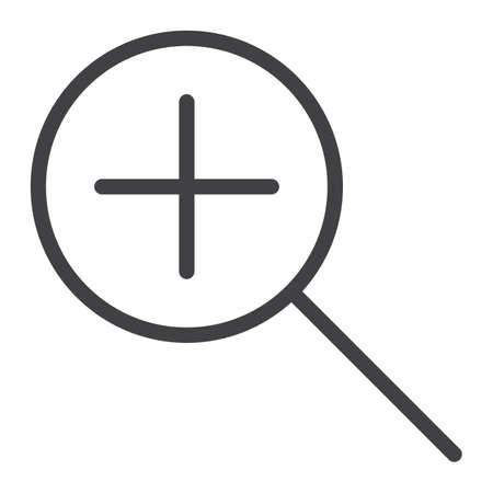 Zoom In line icon, web and mobile, magnifying sign vector graphics, a linear pattern on a white background, eps 10. Illustration