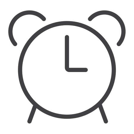 Alarm line icon, web and mobile, clock sign vector graphics, a linear pattern on a white background, eps 10. Illustration