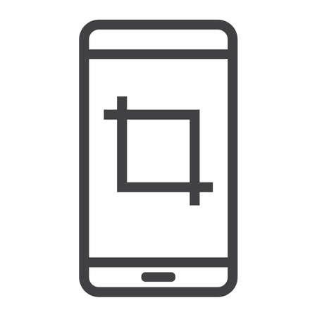 Mobile screenshot line icon illustration.