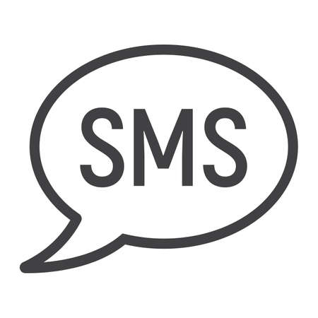Sms line icon, web and mobile, message sign vector graphics, a linear pattern on a white background, eps 10. Illustration
