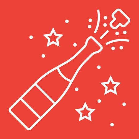 Champagne bottle pop line icon, New year and Christmas, xmas sign vector graphics, a linear pattern on a red background, eps 10.