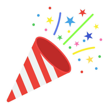 Confetti Popper flat icon, New year and Christmas, xmas sign vector graphics, a colorful solid pattern on a white background, eps 10. Illustration