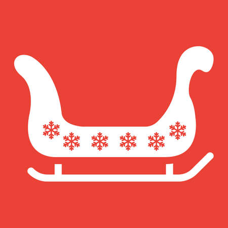 Santa sleigh glyph icon, New year and Christmas, xmas sled sign vector graphics, a solid pattern on a red background, eps 10.