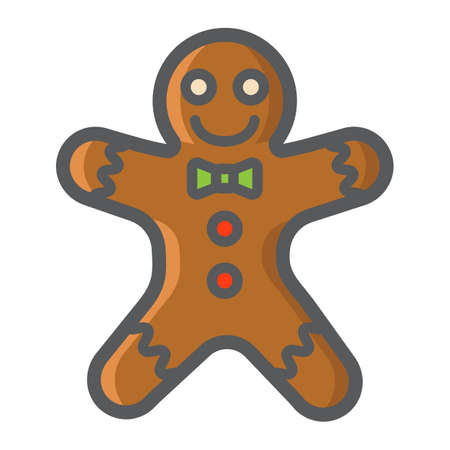 Gingerbread man filled outline icon, New year and Christmas, xmas sweet sign vector graphics, a colorful line pattern on a white background, eps 10. Illustration