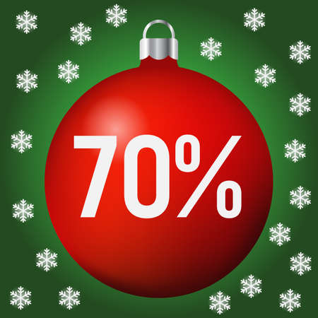 Red Christmas Sale ball icon, new year and xmas, red 70 percent discount ball.