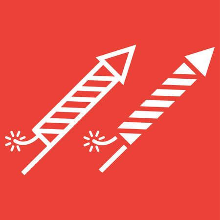 Fireworks rocket line and glyph icon, New year and Christmas, xmas sign vector graphics, a linear pattern on a red background, eps 10.