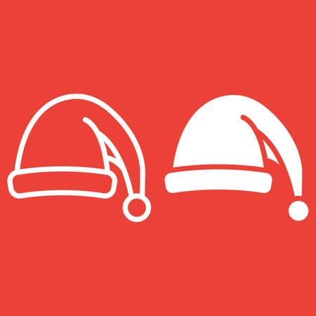 Santa hat line and glyph icon, New year and Christmas, xmas sign vector graphics, a linear pattern on a red background, eps 10.