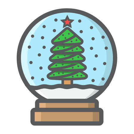 Snow Globe filled outline icon, New year