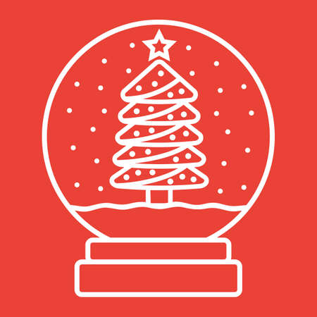 Snow Globe line icon, New year