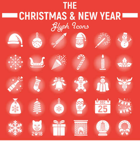 Christmas glyph icon set, new year signs