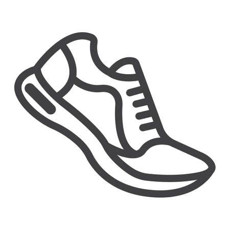 Icona, forma fisica e sport delle scarpe da corsa, grafica vettoriale del segno della palestra, un modello lineare su un fondo bianco, ENV 10. Vettoriali