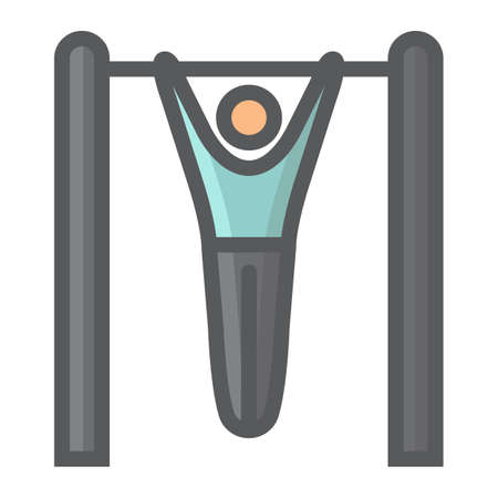 Fitness pull up filled outline icon, fitness and sport, workout sign vector graphics, a colorful line pattern on a white background, eps 10.