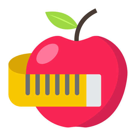 Apple with measuring tape flat icon, fitness and sport, diet sign vector graphics, a colorful solid pattern on a white background, eps 10. Illustration