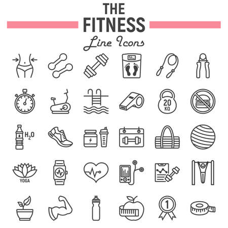 Fitness line icon set, sport symbols collection, vector sketches, logo illustrations, healthy diet signs linear pictograms package isolated on white background, eps 10.