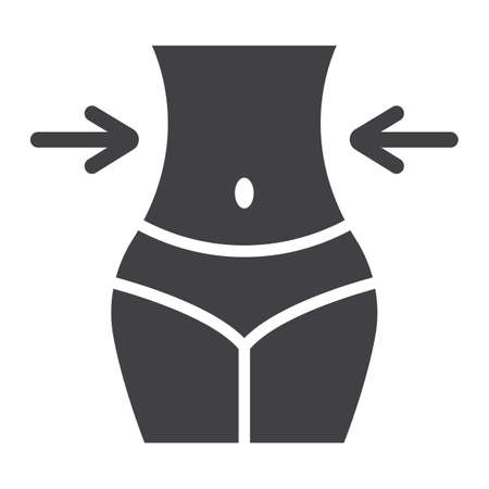 Weight loss glyph icon, fitness and sport, slim body with measuring tape sign vector graphics, a solid pattern on a white background, eps 10.