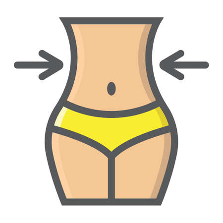Weight loss filled outline icon, fitness and sport, slim body with measuring tape sign vector graphics, a colorful line pattern on a white background, eps 10. Stock Illustratie