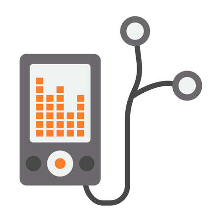 Mp player device flat icon, fitness and audio, music sign vector graphics, a colorful solid pattern on a white background, eps 10. Illustration