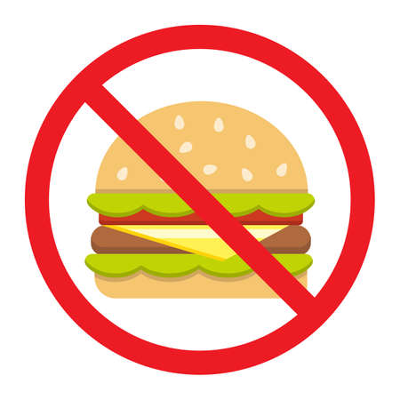 No fastfood flat icon, fitness and sport, unhealthy food sign vector graphics, a colorful solid pattern on a white background, eps 10.