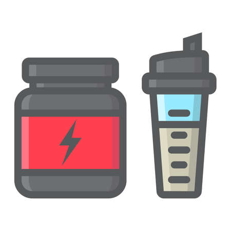 Whey protein with sports shaker filled outline icon, fitness and sport, nutrition sign vector graphics, a colorful line pattern on a white background, eps 10. Foto de archivo