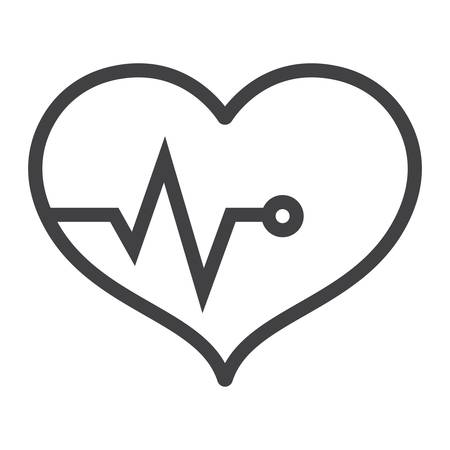 Heart pulse line icon, fitness and sport, heartbeat sign vector graphics, a linear pattern on a white background, eps 10. Stock Photo