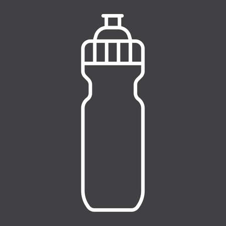 Sports water bottle line icon, fitness and sport, hydro flask sign vector graphics, a linear pattern on a black background, eps 10.