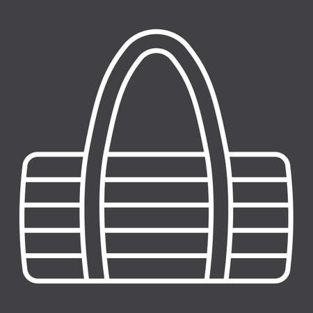 Fitness bag line icon, fitness and sport, sport bag sign vector graphics, a linear pattern on a black background.