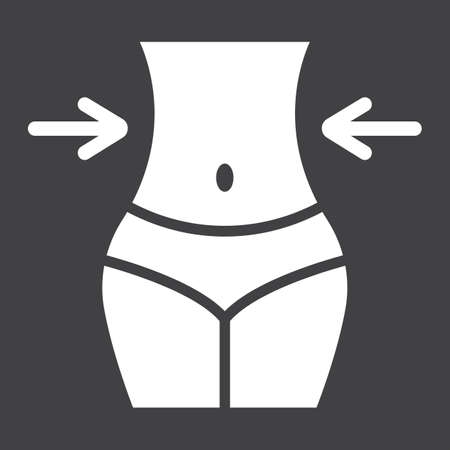 Weight loss glyph icon, fitness and sport, slim body with measuring tape sign vector graphics, a solid pattern on a black background.