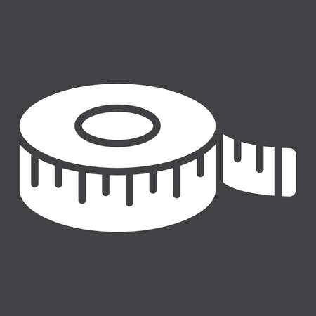 Measure tape glyph icon.