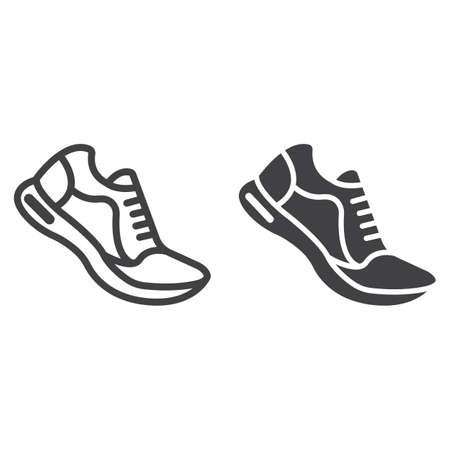 실행 신발 라인 및 글리프 아이콘, 피트 니스 및 스포츠, 체육관 기호 벡터 그래픽, 흰색 배경에 선형 패턴, 분기 EPS 10.