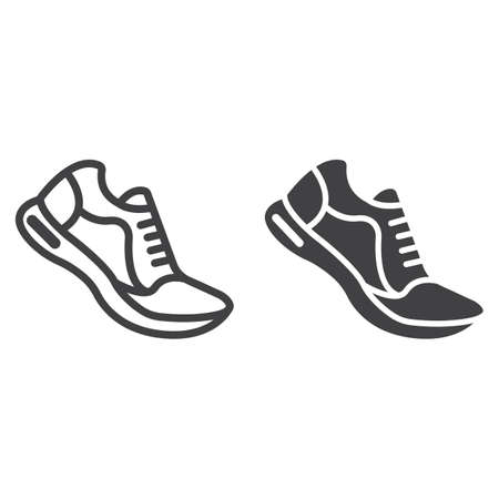 Running shoes line and glyph icon, fitness and sport, gym sign vector graphics, a linear pattern on a white background, eps 10. Illustration