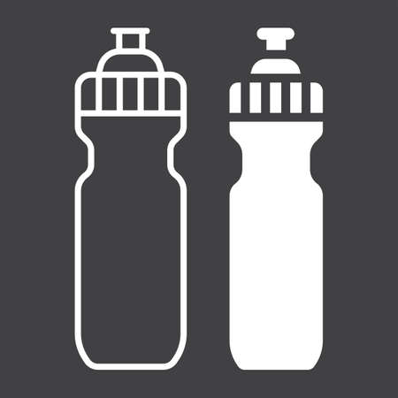 Sports water bottle line and glyph icon, fitness and sport, hydro flask sign vector graphics, a linear pattern on a black background, eps 10.