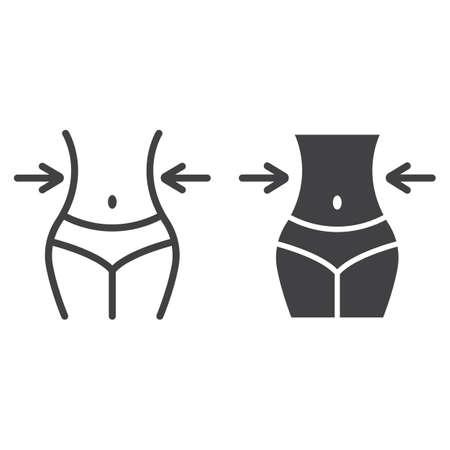 Icône de ligne et glyphe de perte de poids, fitness et sport, corps mince avec des graphiques vectoriels de ruban à mesurer, un motif linéaire sur fond blanc, eps 10.