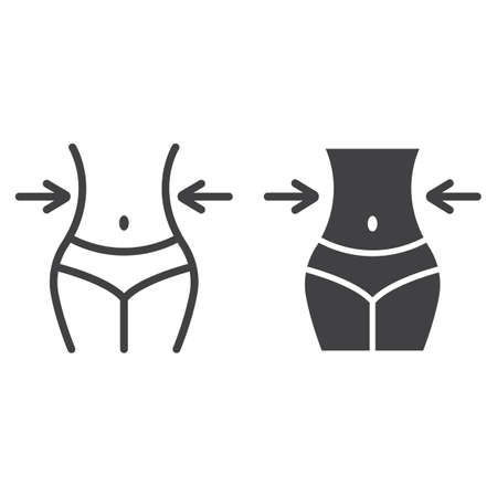 Weight loss line and glyph icon, fitness and sport, slim body with measuring tape sign vector graphics, a linear pattern on a white background, eps 10. Vectores