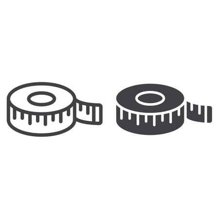Measure tape line and glyph icon, centimeter and size, fitness ruler sign vector graphics, a linear pattern on a white background