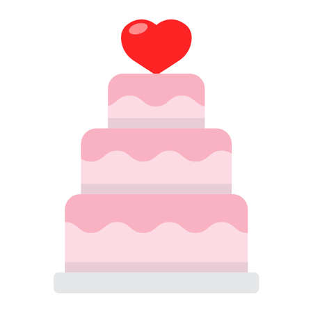 Stacked love cake flat icon, valentines day and romantic, wedding cake sign vector graphics, a colorful solid pattern on a white background, eps 10.