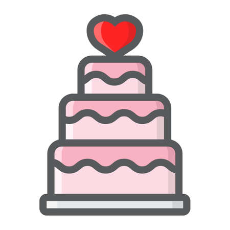 Stacked love cake filled outline icon, valentines day and romantic, wedding cake sign vector graphics, a colorful line pattern on a white background, eps 10.