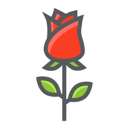 Rose flower filled outline icon, valentines day and romantic, love sign vector graphics, a colorful line pattern on a white background.