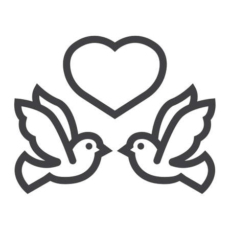 Wedding doves with heart line icon, valentines day and romantic, wedding sign vector graphics, a linear pattern on a white background, eps 10. Ilustracja