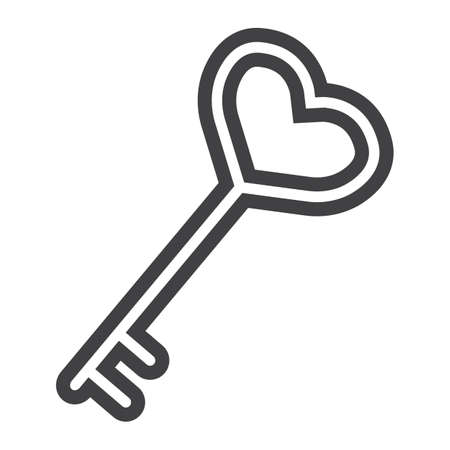 Key with heart shape line icon, valentines day and romantic, love sign vector graphics, a linear pattern on a white background, eps 10.
