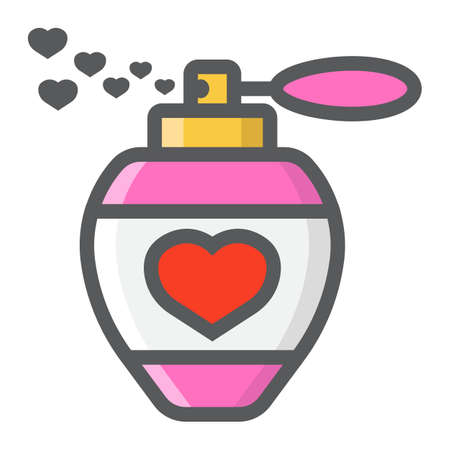 Love perfume with hearts filled outline icon, valentines day and romantic, love sign vector graphics, a colorful line pattern on a white background, eps 10.