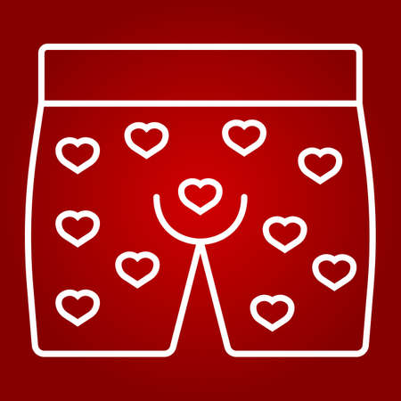 Men underwear with hearts line icon, valentines day and romantic, men briefs sign vector graphics, a linear pattern on a red background, eps 10. Ilustração