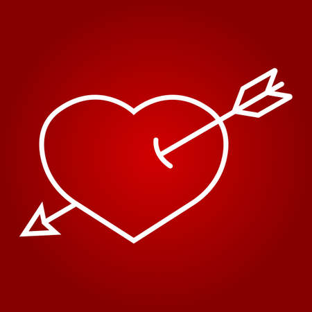Heart Pierced with Arrow line icon, valentines day and romantic, love sign vector graphics, a linear pattern on a red background, eps 10.