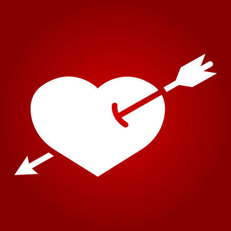 Heart Pierced with Arrow glyph icon, valentines day and romantic, love sign vector graphics, a solid pattern on a red background. Ilustração