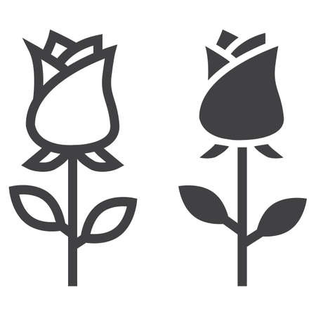 Rose flower line and glyph icon, Valentines day and romantic, love sign vector graphics, a linear pattern on a white background.