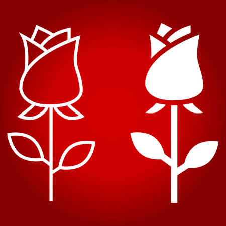 Rose flower line and glyph icon, valentines day and romantic, love sign vector graphics, a linear pattern on a red background.