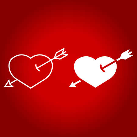 Heart Pierced with Arrow line and glyph icon, valentines day and romantic, love sign vector graphics, a linear pattern on a red background.