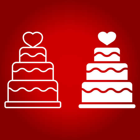 Stacked love cake line and glyph icon, valentines day and romantic, wedding cake sign vector graphics, a linear pattern on a red background.