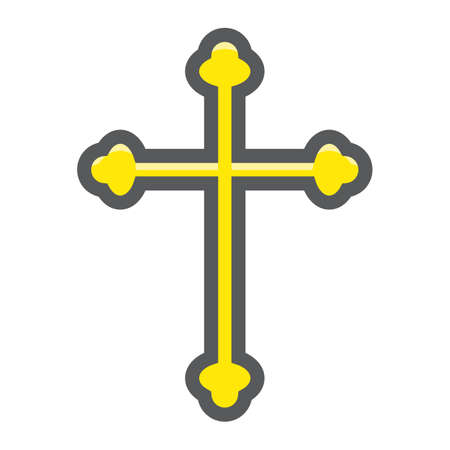 Religion cross filled outline icon, easter and holiday, christian sign vector graphics, a colorful line pattern on a white background, eps 10. Illustration